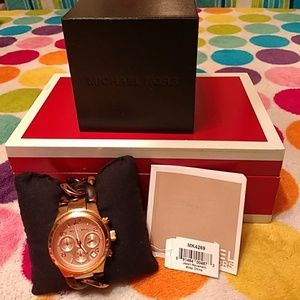 Auth Michael Kors acetate rose gold watch MK4269